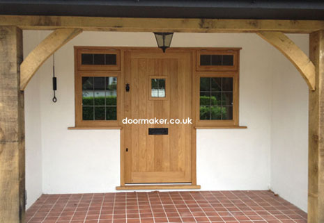 oak door with side windows