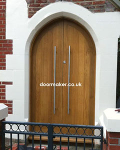 oak double doors arched